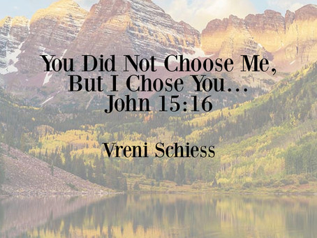 You Did Not Choose Me, But I Chose You… John 15:16