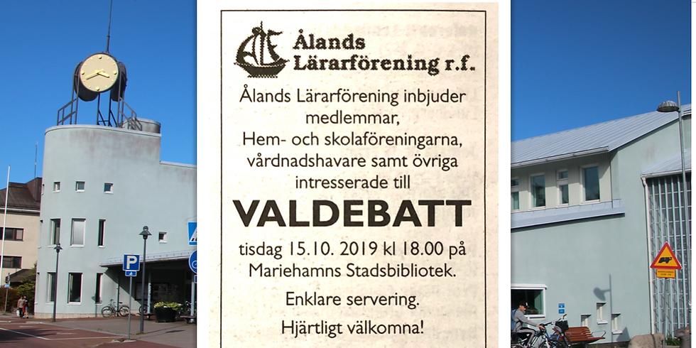 Valdebatt i Mariehamns stadsbibliotek kl.18