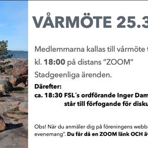 Vårmöte på ZOOM 25.3 kl.18