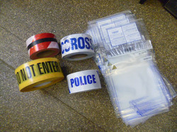 Police tapes and evidence bags