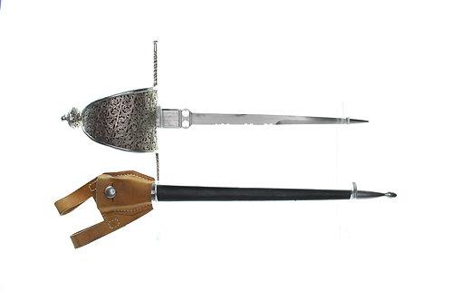 17thCentury style decorated hilt main gauche parrying dagger Pierced steel hilt