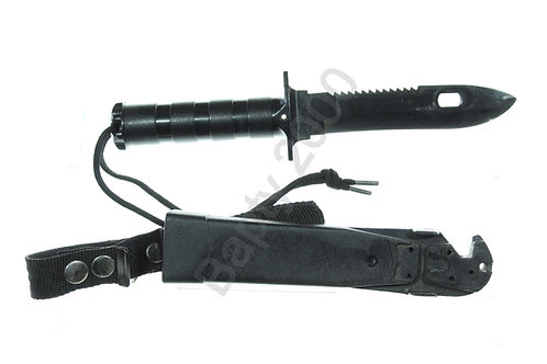 Survival knife with wire cutter sheath (black)