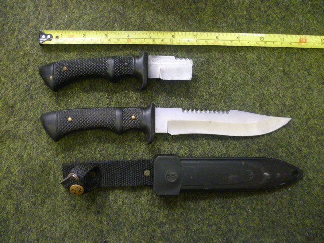 Combat knife and rubber handle