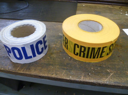 Police tape and scene of crime