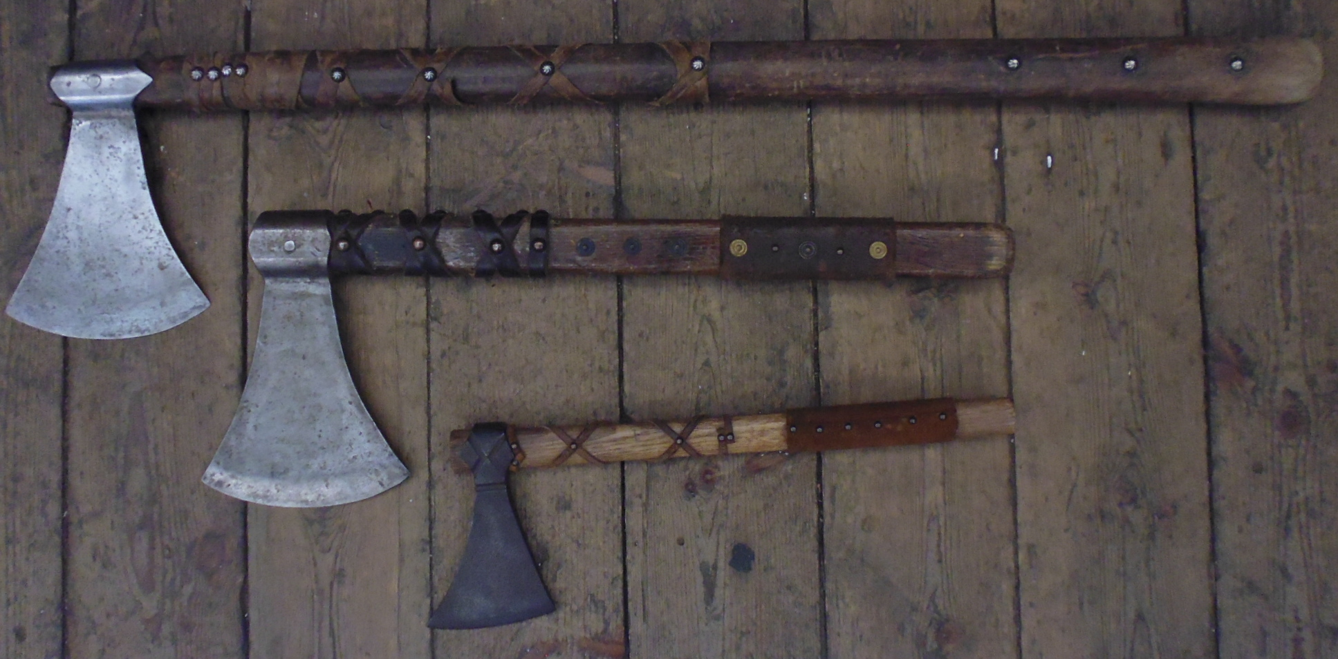 Leather thong grip axes