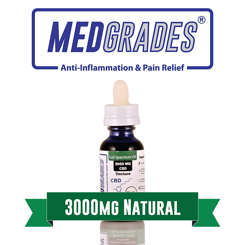 MEDGRADES: Tincture - 3000mg CBD (Natural)