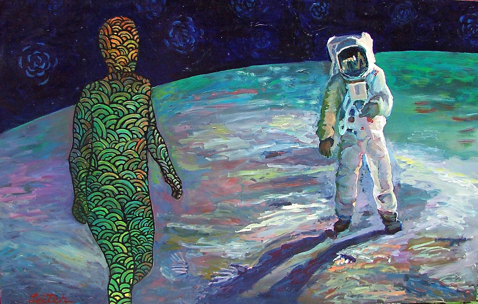 Astronaut and Water Woman | Oil Painting | Nan Leiter | Artist, Painter