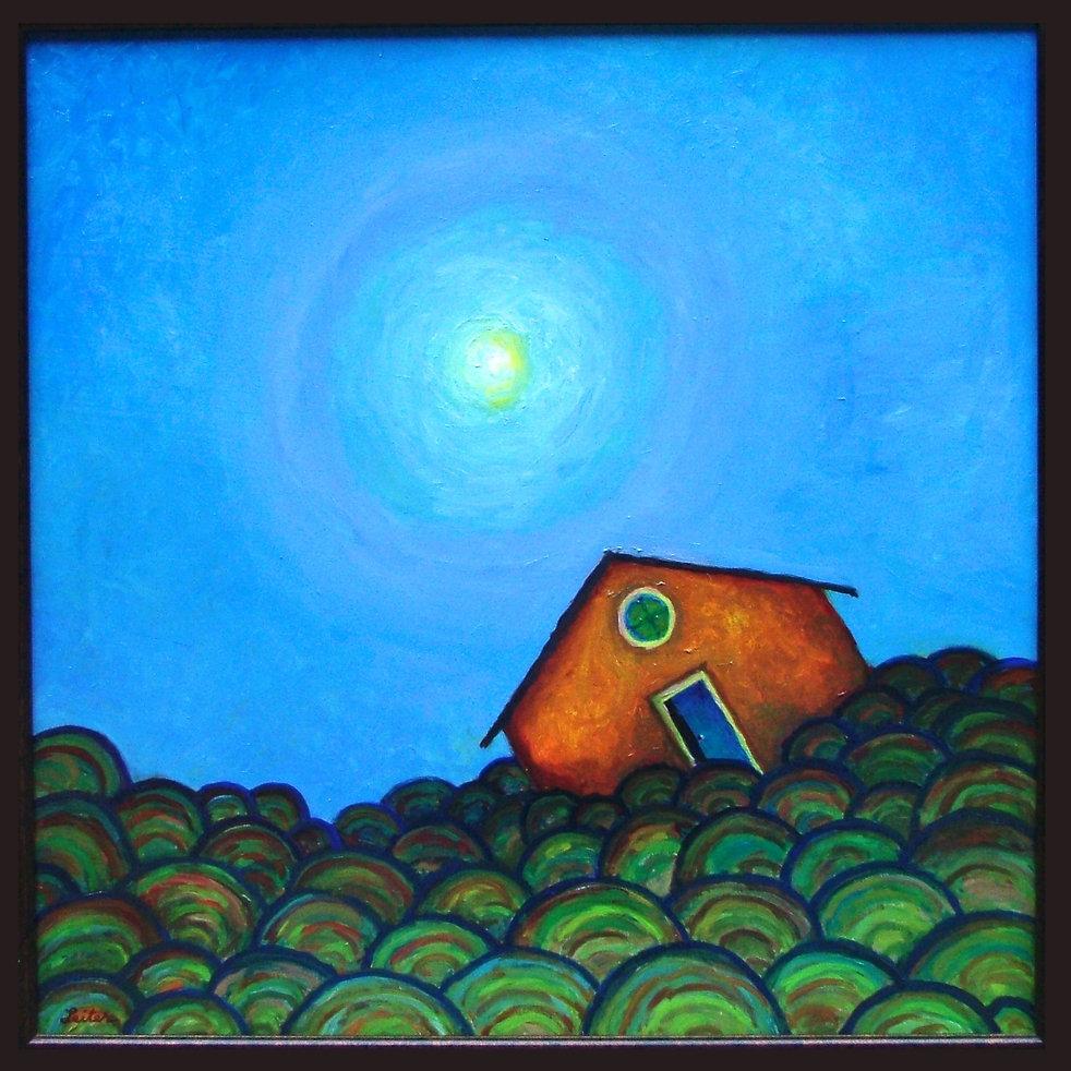 Yellow Haus under Sundog | Oil Painting | Nan Leiter | Artist, Painter