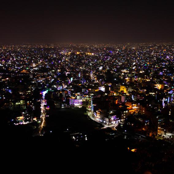 Kathmandu Monkey Tempel bei Nacht