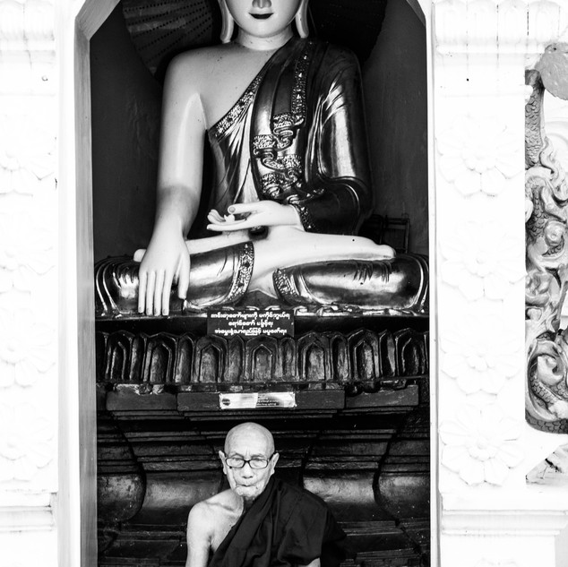 Mönch in Yangon in der Swedagon Pagode