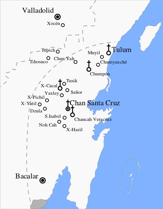 Mapa de la region bajo dominio Maya (Fuente: Wikipedia)