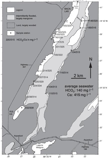 Distribucion estromatolitos laguna Bacalar