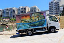 En 3D målning på lastbil, Malta