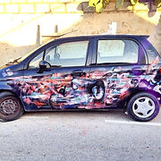 Beautiful Street art on car by Antoine Stevens and Add More Colors