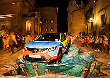 3D pavement artwork by Tony Cuboliquido for Nissan and Add More Colors