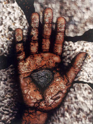 """Mann"", a computer generated image consisting of a broken concrete background, with an open hand in front showing a stone with the Rune sybol ""Mann"" engraved in it."