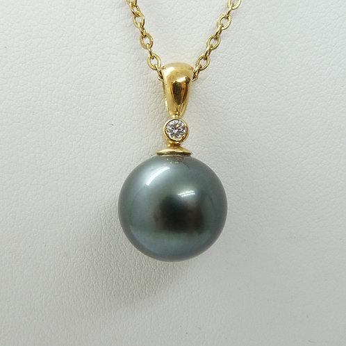 18ct Tahitian Pearl & Diamond Pendant