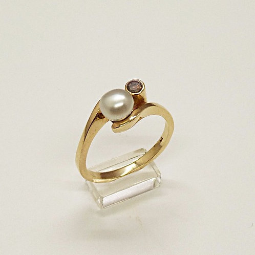 9ct Keshi & Champagne Diamond Ring