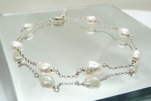 Sterling Silver Keshi Bracelet