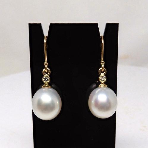 9ct Gold, Pearl & Diamond Earrings