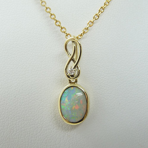 14ct White Opal & Diamond Pendant