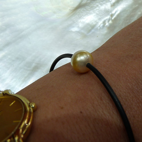 Gold Cultured Pearl Neoprene Bracelet