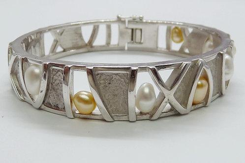 8 Mixed Keshi Stirling Silver Bangle