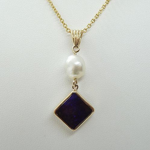 9ct Keshi & Opal Pendant