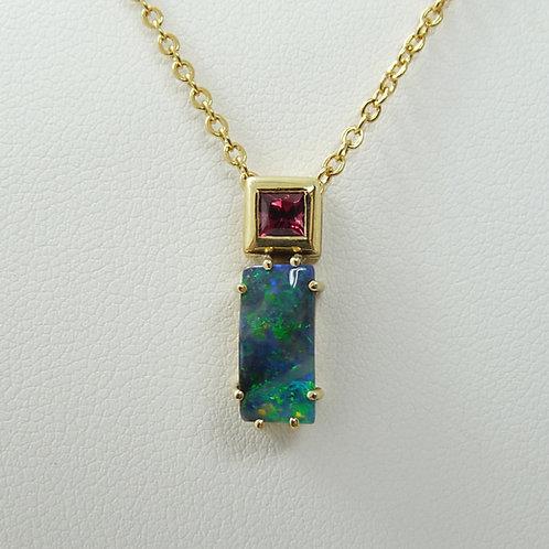 14ct Gold Rhodolite Garnet & Opal Pendant