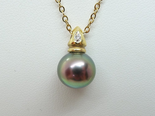 18ct Tahitian Pearl & Diamond Pendant