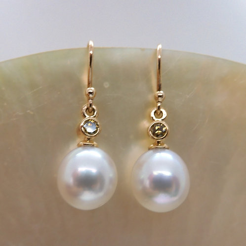 9ct Yellow Gold Pearl & Champagne Diamond Earrings