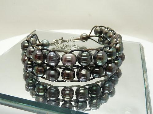 Tahitian Cultured Pearl & Leather Bracelet