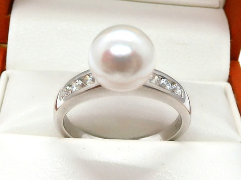 Sterling Silver Cultured Pearl & Cubic Zirconium Ring