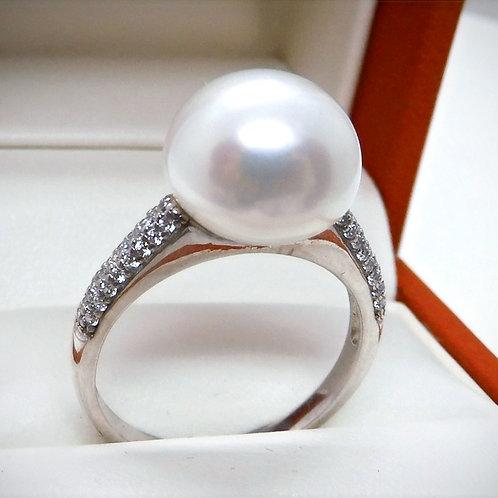 Sterling Silver, Pearl & Cubic Zirconium Ring