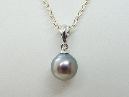 Sterling Silver & Black Tahitian Pearl Pendant