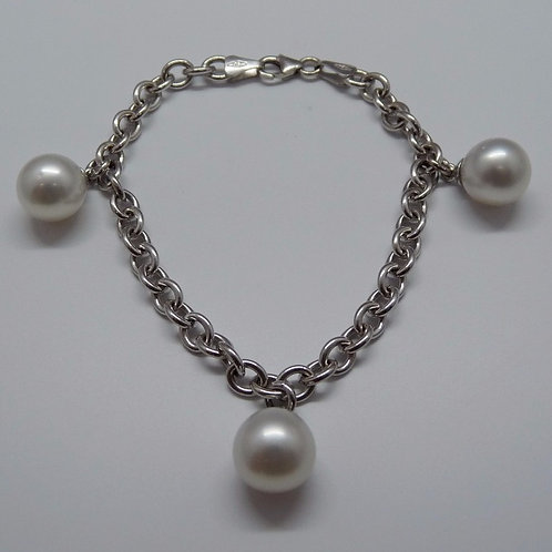 3 Cultured Pearl 18ct White Gold Bracelet