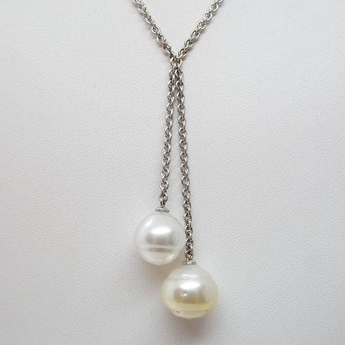 Sterling Silver White & Gold Pearl Pendant