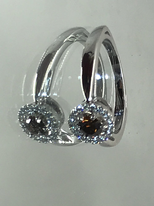 18ct White Gold .42 ct Cognac Diamond with.10ct White Diamond surrounding th