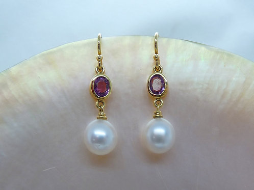 18ct Yellow Gold Pearl & Pink Sapphire Earrings