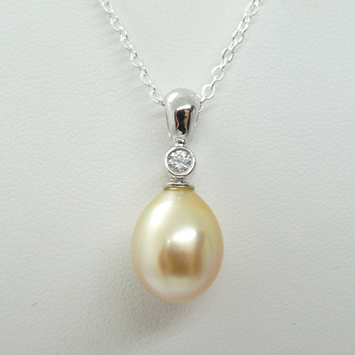Gold Cultured Pearl and Diamond Pendant
