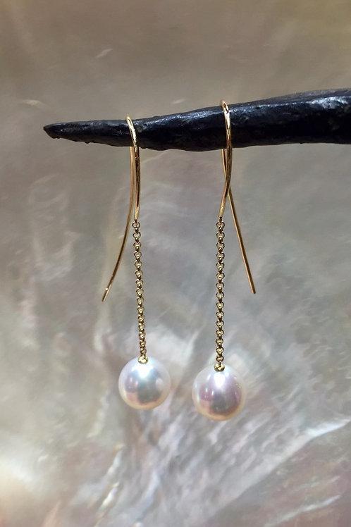 Long Gold & Pearl Dangle Earrings 9ct
