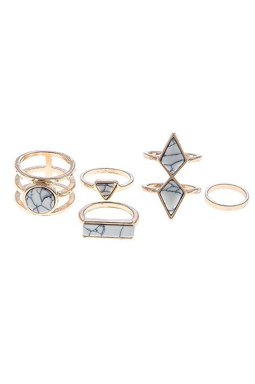 Geometric Shapes Ring Set