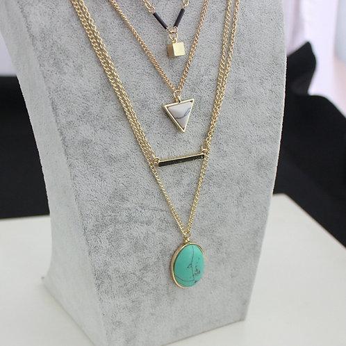 Geometric Shapes Layered Necklace