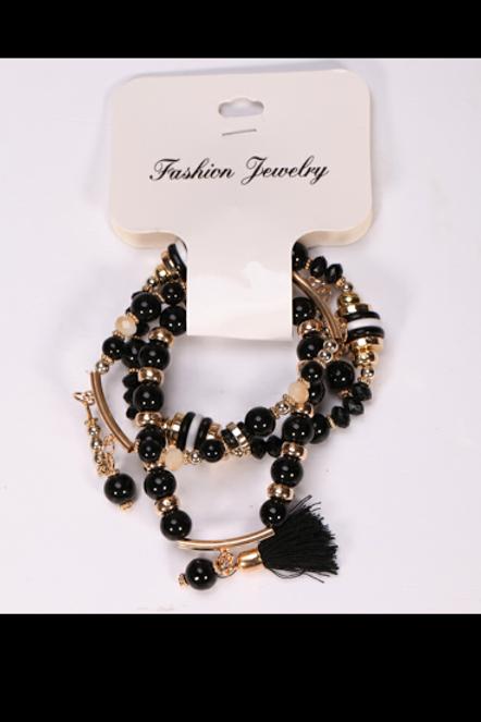 Beaded Black Tassel Bracelet Set