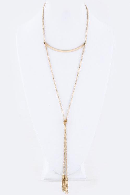 Gold or Silver Two Tassels Knotted Necklace