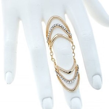 Gold or Silver Chevron Chain Stretch Ring