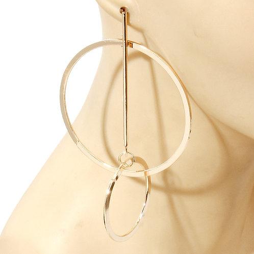 Gold Interlocking Loop Hoop Earrings