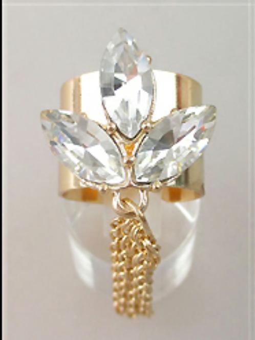 Gold Stone Cuff Tassel Accent Ring