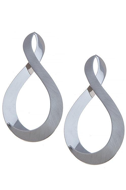 Silver Two-Textured Twist Earrings