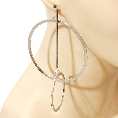 Silver Interlocking Loop Hoop Earrings